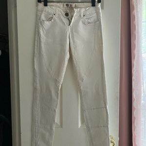 White Jeans with Zip Up Bottoms